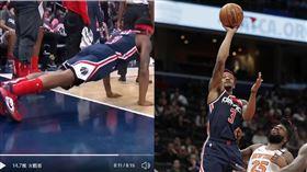 ▲比爾(Bradley Beal)上籃麵包場邊做伏地挺身。(圖/翻攝自NBA on ESPN推特/美聯社)