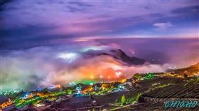 西南氣流夾水氣 七彩琉璃雲瀑雲湧如浪 如仙境壯觀震撼(圖/悟空大師-莊家和授權使用)