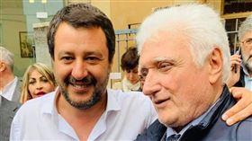 貝加莫省(Bergamo)切內市(Cene)70歲市長瓦洛蒂(Giorgio Valoti)確診武漢肺炎不治。(圖右) 圖翻攝自Matteo Salvini臉書