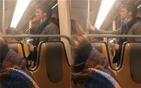 比利時,男乘客搭地鐵塗抹口水在車廂扶手(圖/翻攝自推特)