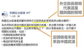 定調?網曝AIT美台聲明2亮點…病毒來自中國+兩國聲明(圖/翻攝「海人」臉書)