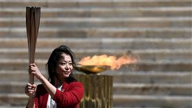東京奧運聖火在雅典交接,現場不開放觀眾。(圖/路透社/達志影像)