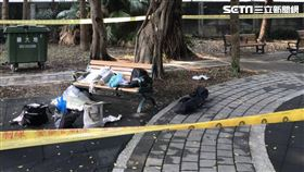 台北市松山區富民公園遊民上吊現場。(圖/讀者提供)