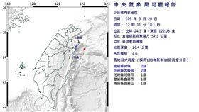 2020.03.20 宜蘭外海地震(圖/氣象局)
