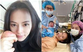 劉香慈在主播妹妹劉方慈的陪伴下產下二寶(圖/翻攝自劉香慈臉書)