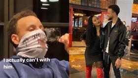 影/柯瑞「隔罩」飲酒 老婆氣瘋開罵 NBA,金州勇士,Stephen Curry,Ayesha Curry,面罩 翻攝自IG Ayesha Curry