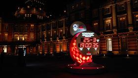 ▲東京火車站前的奧運倒數計時鐘。(圖/取自推特)