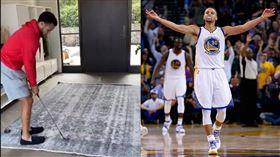 ▲柯瑞(Stephen Curry)在家秀高球神技。(圖/翻攝自柯瑞、勇士推特)