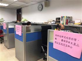 ▲避免辦公室群聚感染,台北地檢署進行「分艙」辦公演練。(圖/翻攝畫面)