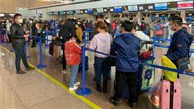 趕赴千里 153名滯湖北台人辦理登機首趟「湖北類包機」29日晚間自上海起飛,滯留湖北台人徹夜趕來,共153人辦理登機。中央社記者沈朋達上海攝 109年3月29日