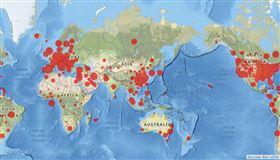 全球疫情,地圖(圖/翻攝自Johns Hopkins Coronavirus Resource Center)