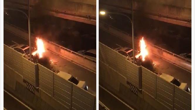 台中晚間連環撞 機車騎士遭「夾燒身亡」 起火畫面曝光了