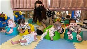 口罩挖洞給幼兒戴 托嬰中心防疫新招恐有窒息風險(圖/翻攝畫面)