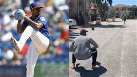 ▲大都會投手史卓曼(Marcus Stroman)在私人街道上練投。(圖/美聯社/翻攝自史卓曼推特)