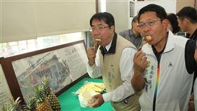 黃偉哲力推台南鳳梨台南市長黃偉哲(左)1日試吃龍崎區農民栽種的鳳梨,為進入產季的鳳梨代言。他說,多吃鳳梨保健康,免疫力跟著提高。中央社記者楊思瑞攝  109年4月1日