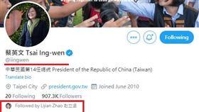 就是愛小英?小英推特粉絲名單 驚見中國外交部發言人跟隨(圖/翻攝推特)