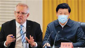 澳洲總理莫里森,習近平,武漢肺炎,口罩 圖翻攝自Scott Morrison (ScoMo)臉書、新華社