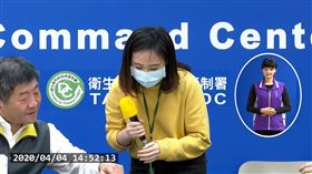陳時中欽點電視台女記者用客語宣導保持社交距離。(圖/翻攝自CDC記者會)