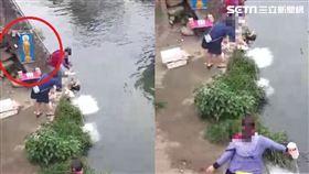 台中3大媽溪邊放生鯰魚、牛奶/吳姓民眾授權提供