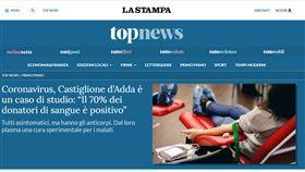 義大利小鎮60捐血者 驚見40人陽性全是「無症狀患者」(圖/翻攝自La Stampa官網)
