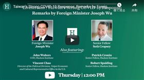 華府智庫「哈德遜研究所」9日舉辦線上座談會(約於影片18分06秒處),談論台灣對抗武漢肺炎疫情的強力作為。(youtube)