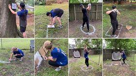 ▲遊騎兵新秀索拉克(Nick Solak)在自家後院打造球場。(圖/翻攝自MLB Pipeline推特)