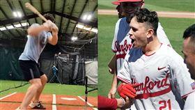 神!史丹佛球員「1顆球打2次」超秀 史丹佛大學,棒球,打擊練習,特技,發球機,Tim Tawa 翻攝自推特 Tim Tawa