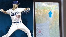 ▲道奇投手凱利(Joe Kelly)自家後院練投打破玻璃。(圖/翻攝自道奇、Cut4推特)