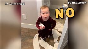 ▲Millie玩衛生紙,當場被媽媽抓包。(圖/AP/Caters TV授權)