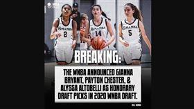 ▲WNBA特別用榮譽選秀權,選中這吉安娜(Gianna)和她2位隊友。(圖/翻攝自NBA Buzz臉書)