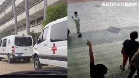 國軍防疫車進台中一中/翻攝畫面