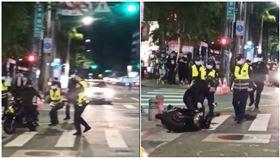 士林夜市行車糾紛!騎士嗆聲還落跑 警一拉…他秒摔地。(圖/翻攝自爆怨公社臉書)