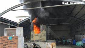 台南市白河區口罩工廠發生火警。(圖/翻攝畫面)