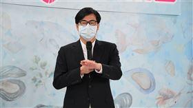 行政院副院長陳其邁28日上午出席momo富邦媒體科技推廣本土漁產銷售活動。(圖/行政院提供)