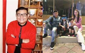 許效舜與小24歲老婆陳愉跟一對兒女。林聖凱攝影/臉書
