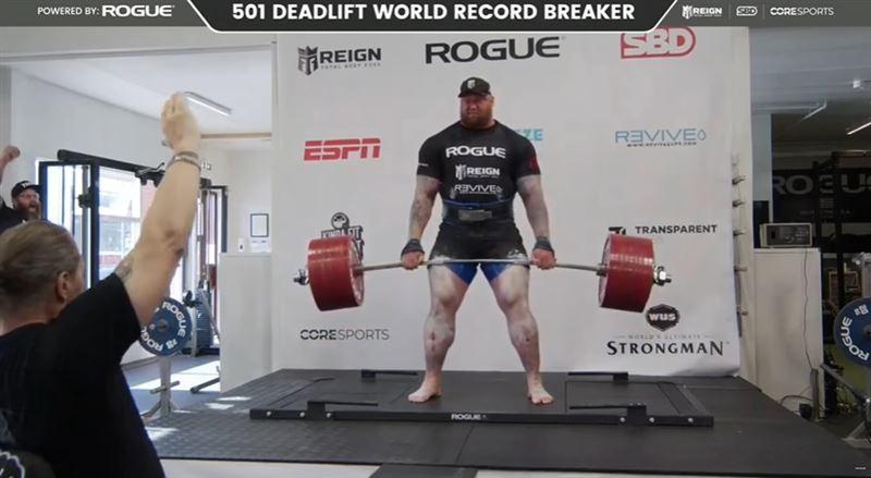 硬舉501公斤!男星刷新世界紀錄
