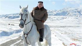金正恩騎白馬形象照。(圖/翻攝自朝中社)