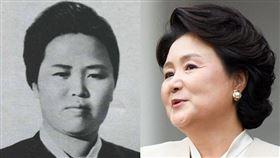 日媒將北韓國母金正淑(左)的照片誤植為同名的南韓總統文在寅夫人金正淑(右)。(圖/中央社)