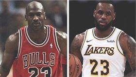 Michael Jordan與LeBron James。(合成圖/翻攝自推特)