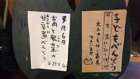 日本首相安倍晉三母校成蹊大學附近的便當店「長男堂」,日前推出訂價250日圓可先吃後付款、甚至是長大後再付也無妨的「兒童便當」,獲日本網友好評。(圖/翻攝自推特)