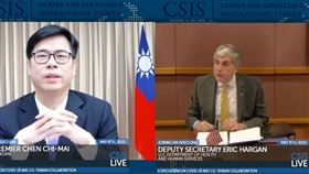 與美國衛生副部長視訊對談…陳其邁:台灣應成世衛成員(組合圖/翻攝CSIS YouTube)