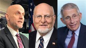 美國「防疫三巨頭」哈恩(Stephen Hahn)、芮斐德(Robert Redfield)、佛奇(Anthony Fauci)。(圖/翻攝自推特)