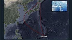美軍B-1B轟炸機經中國東海繞日本一圈(圖/翻攝飛機守望推特)