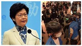 林鄭月娥、香港警察逮捕示威民眾(組合圖)