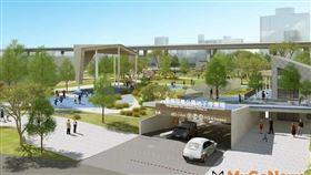 板橋第一座前瞻停車場─音樂公園地下停車場8月完工(圖/新北市政府)