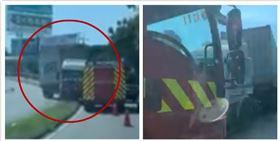 台中向上路六段,曳引車(圖/翻攝自聯結車 大貨車 大客車 拉拉隊 運輸業 照片影片資訊分享團)