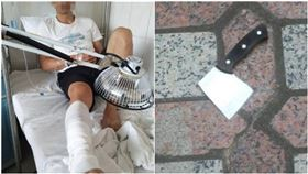 天降菜刀!1樓男右腿被砍…崩潰喊:再往前就「斷頭」了(圖/翻攝自南國早報)