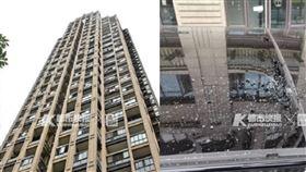 中國綠帽女菜刀44樓往下丟,742萬路虎車頂GG。(圖/翻攝自都市快報微博)