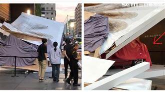 狂風暴雨攪局 台中特斯拉展示台倒塌