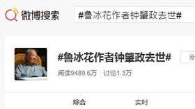 中國網友在微博悼念鍾肇政。(圖/翻攝自微博)  https://s.weibo.com/weibo?q=%23%E9%B2%81%E5%86%B0%E8%8A%B1%E4%BD%9C%E8%80%85%E9%92%9F%E8%82%87%E6%94%BF%E5%8E%BB%E4%B8%96%23&Refer=top